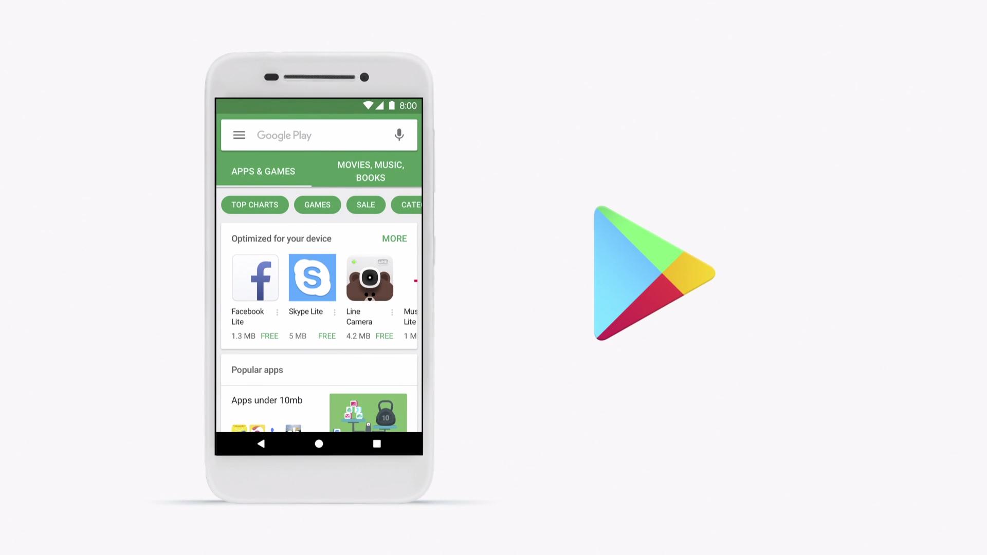 Play Store บน Android Go จะแสดงแอพเวอร์ชัน Lite ต่างๆ เพื่อการใช้งานที่ลื่นไหลในเครื่องที่สเปกต่ำ