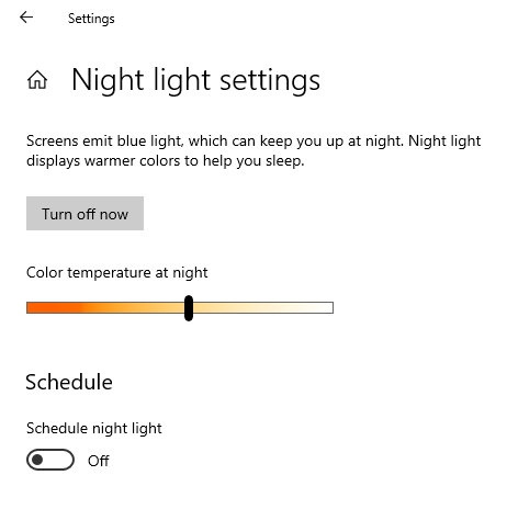 night light windows 10