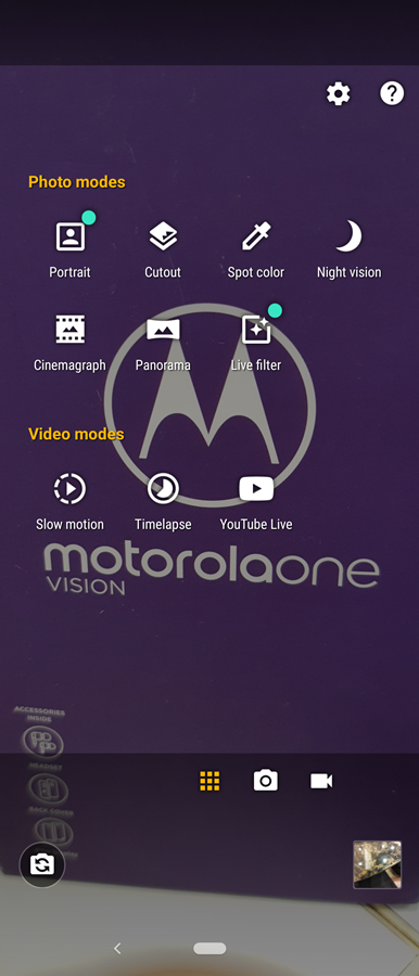 night vision motorola one vision