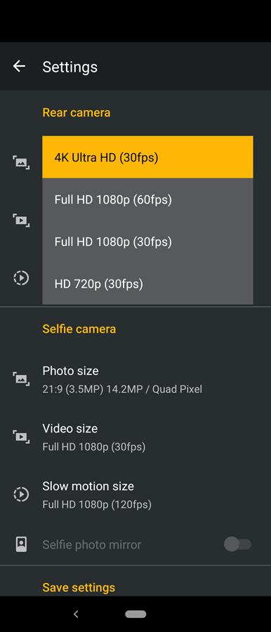 rear camera 4K Video
