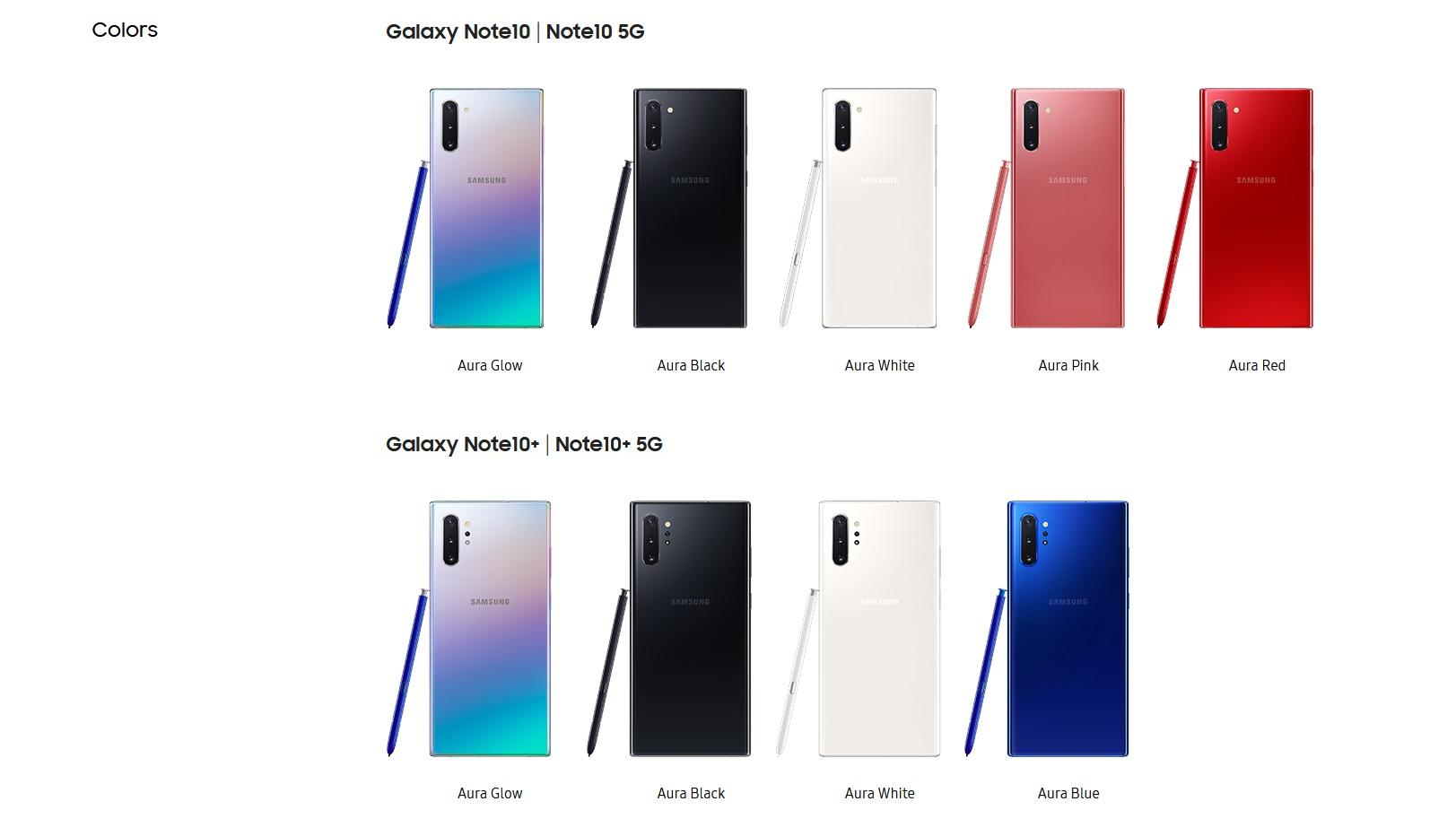 galaxy note 10 สี