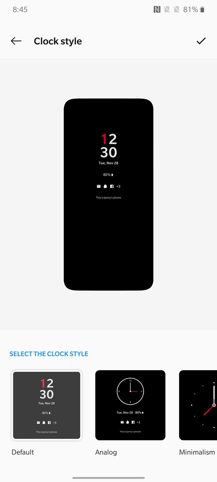 OnePlus 7T clock