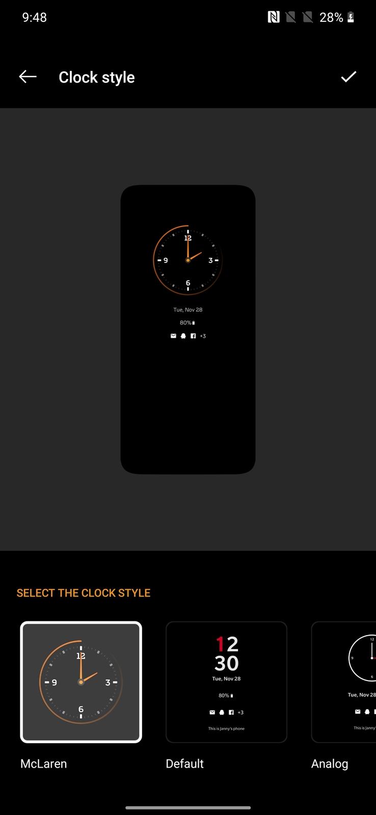OnePlus 7T Pro McLaren clock