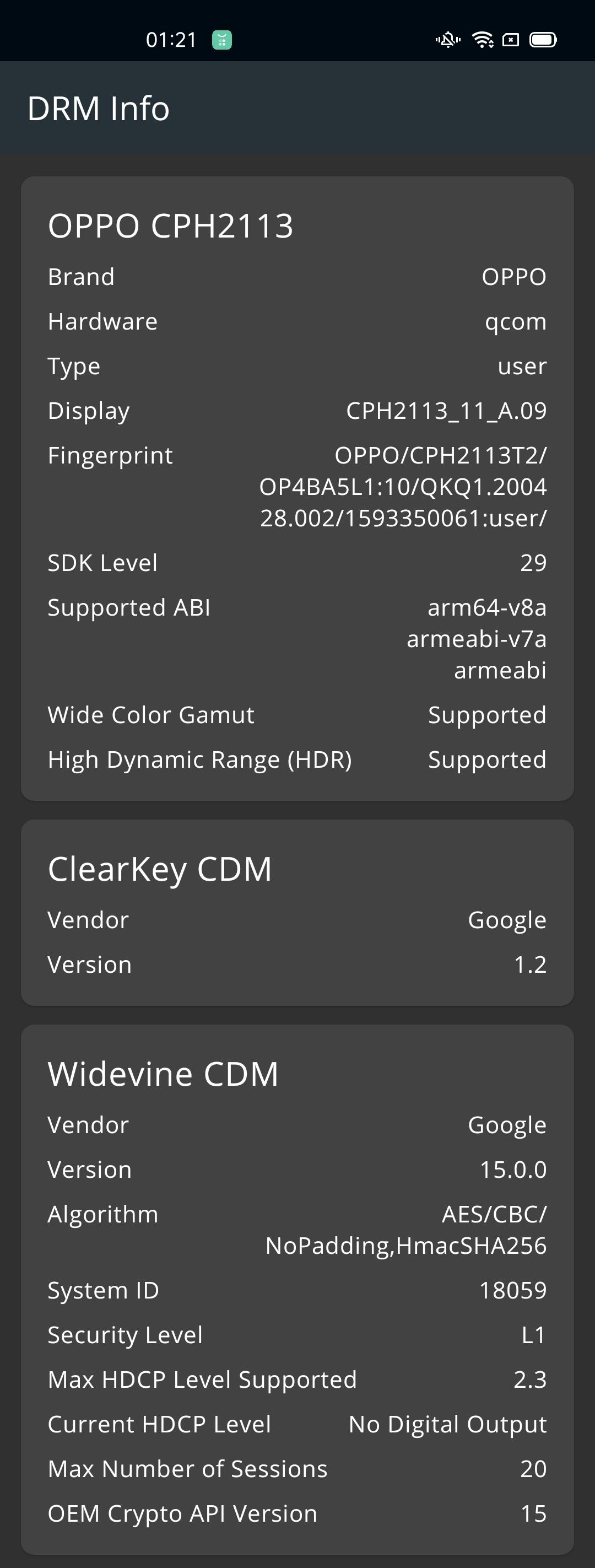 DRM Info OPPO reno4 L1