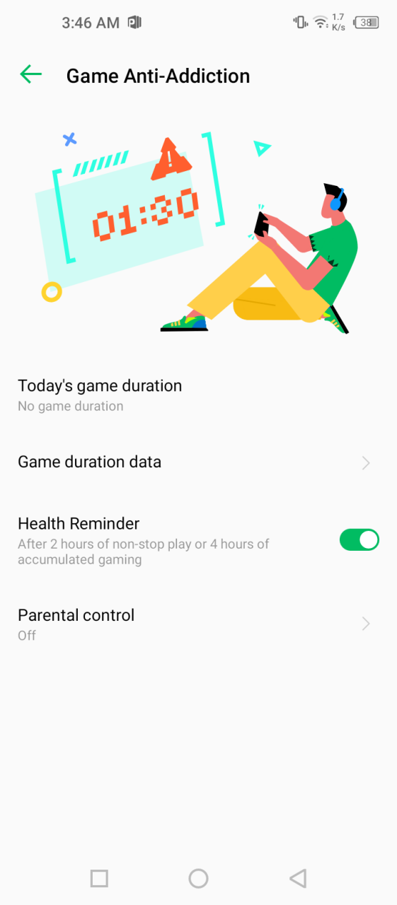 Game Addiction Mode Infinix Hot 10